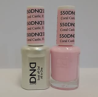 DND Daisy Duo Soak off Gel and Matching Nail Polish - 2016 Collection + Buy 2 colors get 1 FREE airbrush Stencil (550 - Coral Castle) by Daisy DNA