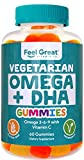 DHA & Omega Vegetarian Gummy Vitamins by Feel Great 365, Packed with Vitamin C, Chia, and Omega 3 6 9, Supports Brain & Immune Functions, Men & Women 21 to 65 Plus, (60 Count)