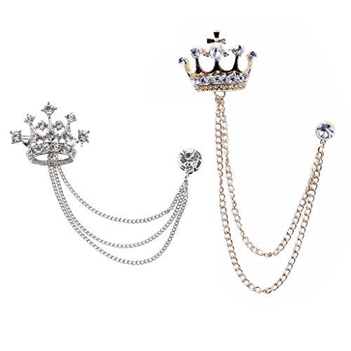 2 alfileres con diseño de corona para regalo de cumpleaños o aniversario.