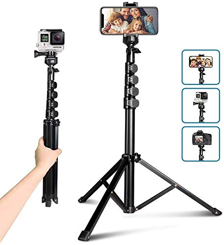 "62"" Phone Tripod Accessory Kits, Aureday Camera & Cell Phone Tripod Stand with Bluetooth Remote and Universal Tripod Head Mount, Perfect for Selfies/Video Recording/Vlogging/Live Streaming"