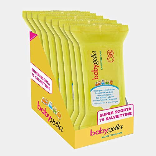 Babygella Toallitas de manos, detergentes y desinfectantes para las manos del niño, con extractos naturales de tomillo, salvia y manzanilla, paquete de 75 toallitas – 120 g