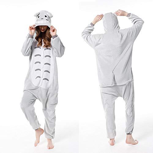 SUMHOM Pijama de una Pieza de Animal Chinchilla, Dibujos Animados de Manga Larga otoño e Invierno-Totoro_L