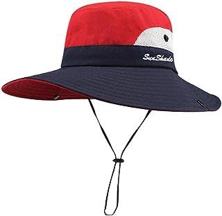 Cappelli da sole da donna Coda di cavallo Cappello da sole a tesa larga con sottogola regolabile Protezione UV Berretto da...
