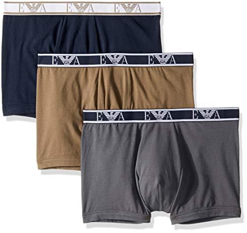 Emporio Armani Herren Monogram 3-Pack Boxer Brief Slip, Anthrazit/Marine/Khaki, Large