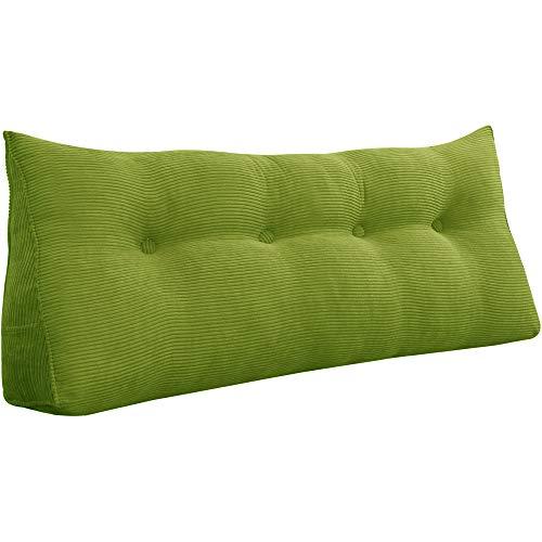VERCART Cojín de Lectura Almohada Lumbar Espalda Triangular Cojín de Lectura Almohada de Lectura Cuña Ergonómico Dossier para Sofá Cama Pallet Verde 120CM