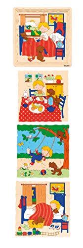Educo | Geschichten-Puzzle - Tagesablauf | Lehrmaterialien Geschichte | Puzzle - Spielen und lösen - Schichtenpuzzles | Ab 84 Monate | Bis 144 Monate, farbskala