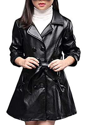 Girls Double Breasted Faux Leather Coat Toddler Jacket for Kids Dress Coat 5-12y Black
