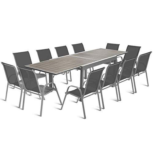 IDMarket - Salon de Jardin Extensible Poly Gris foncé Table 135-270 cm et 12 chaises