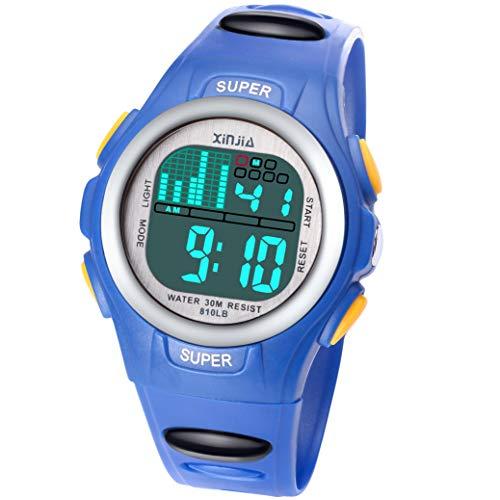 Jungen Digitaluhren, 7 Farben LED Licht Mädchen Uhr Wasserdicht Kinderuhren Mädchen Junge Digital Sportuhren Armbanduhr für Sport Outdoor Alter 2-16 (Big Blau)