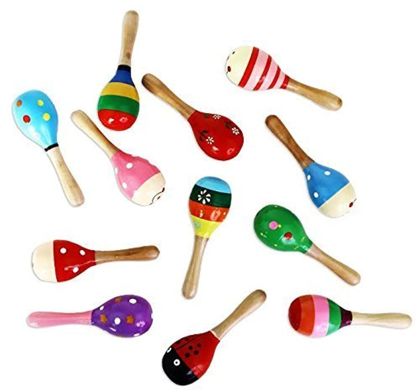 Wooden Maracas | Fiesta Painted Assorted Colors and Designs | Mega Pack of 12