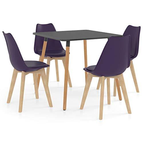 vidaXL Juego de Comedor 5 Piezas Muebles Restaurante Hogar Moderno Cocina Terraza Interior Asiento Mesa Silla Suave con Respaldo Morado Oscuro