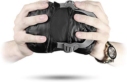 normani Ultralight Schlafsack Runty KOMPAKTE GRÖßE! 3D Mikrofaser Microtech Füllung, wasserdichter Sommerschlafsack Farbe Schwarz Größe 210 cm x 75 cm x 60 cm (Links)