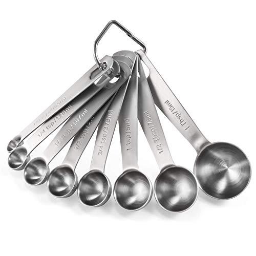 U-Taste 18/8 Edelstahl Messlöffel 8 Stück, Metall Messlöffel für Backmessen Trockenrationen und Flüssigkeit, Spuelmaschinenfest, Gutes Küchenwerkzeug
