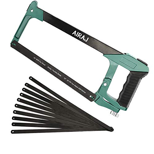 AIRAJ 12 Zoll Metallbügelsäge, multifunktionaler Bügelsägenrahmen mit einstellbarer Spannung, ergonomische Holzsäge mit rutschfestem Griff, Bügelsäge zum Schneiden von Metall und Holz