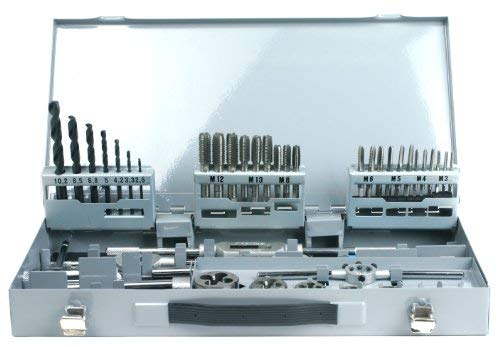 PROFI Juego de herramientas para roscar (machos y terrajas) 45 piezas M3-M12, Cojinete de roscar, broca en espiral de nucleo