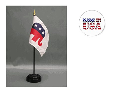 Made in The USA. 2 Republican 4'x6' Miniature Desk & Table Flags Includes 2 Flag Stands & 2 Republican Elephant Small Mini Stick Flags