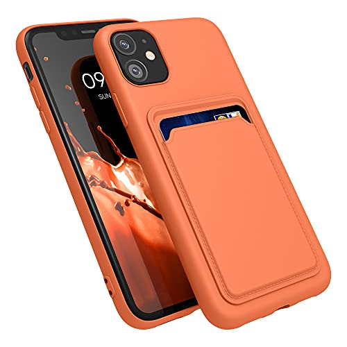 kwmobile Funda con Tarjetero Compatible con Apple iPhone 11 - Carcasa Protectora de TPU Suave - Naranja