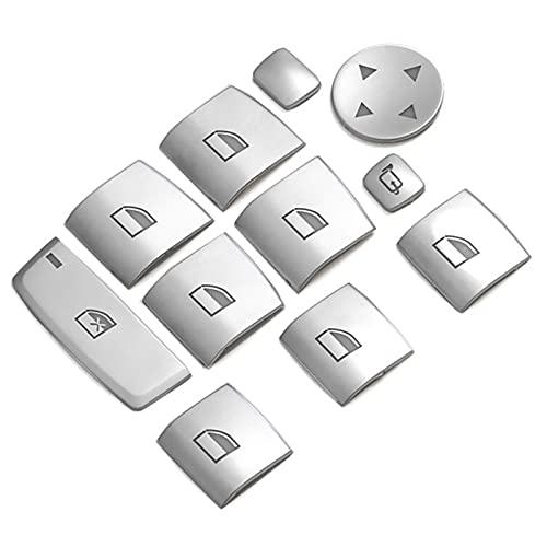 ZhiDuoXing Interruptor de la Ventana del Interruptor de la Ventana Botones de elevación Cubiertas Trim Pegatinas de Interior/Ajuste para -B-M-W 5 Series F10 F18 525 528 11-17 / (Color Name : Silver)