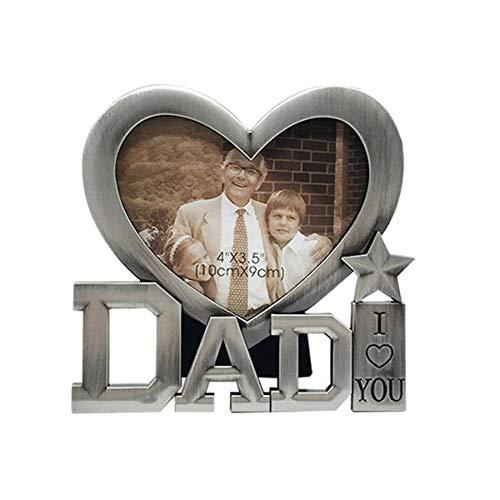 Marco de Fotos en Forma de Corazón del día del Padre Amo a Papá Marco de Metal Marco de Mesa Pantalla Superior Papá Regalo de Cumpleaños