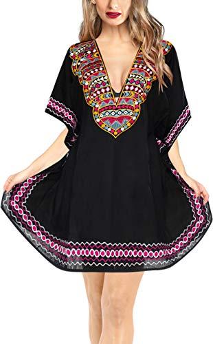 LA LEELA damska tunika plażowa ponczo sukienka bikini wiskoza letnia sukienka odzież plażowa proste zakrycie jeden rozmiar 306