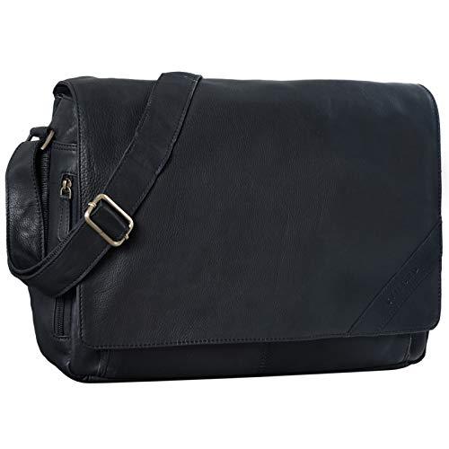 STILORD 'Nick' Umhängetasche Leder Herren Damen Unitasche 15.6 Zoll Laptoptasche Aktentasche Bürotasche Vintage Büffel-Leder, Farbe:schwarz
