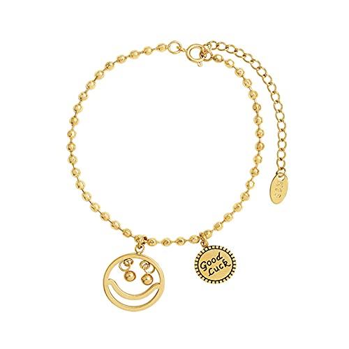 YJZW Smile Chain Adjustable Bracelet Women Fashion Jewelry Gift, Good Luck 18k Gold Plated Bracelet