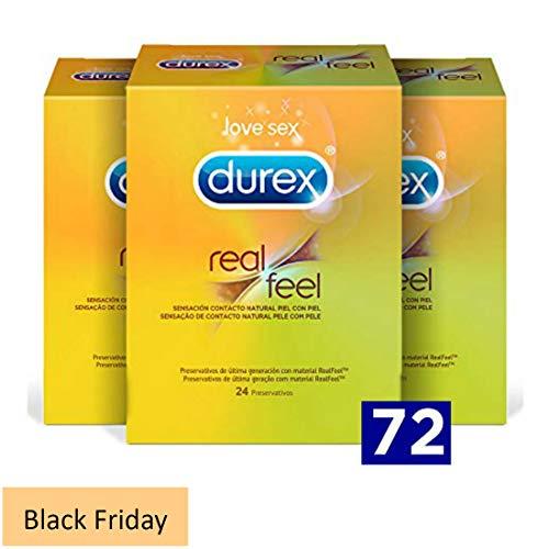 Durex Real Feel 72 Condones | Preservativos sin latex | Preservativo Durex finos con sensación idéntica a la de piel con piel