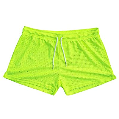 """GYMAPE Men's Mesh Athletic Shorts 3"""" Inseam for Workout Quick Dry Lightweight Color Neon Size L"""