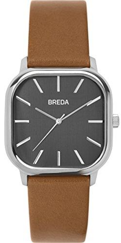 BREDA 'Visser' 1728b Silver Square Fashion Analog Display Quartz with Brown Leather Strap Wrist Watch, 35mm