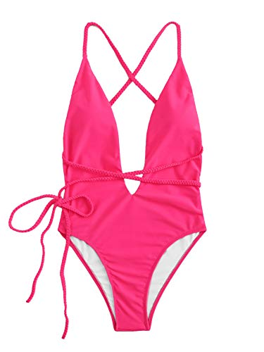 SOLY HUX Women Sexy One Piece Swimsuit Deep Plunge Belted Low Back Padded Swimwear Bright Pink Medium