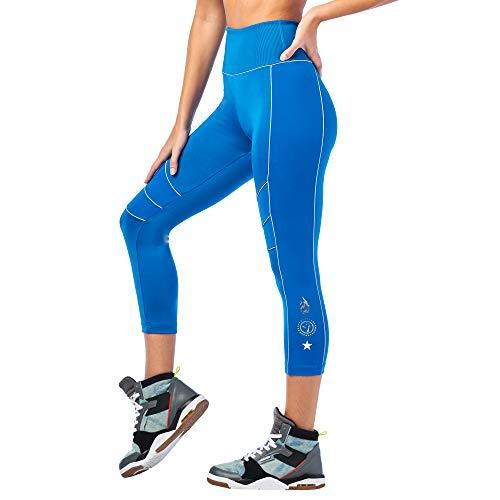 Zumba Aktiv Sport Capri High Waist Leggings Stilvoll Workout Fitnesshose Damen, Jersey Blue 0, M