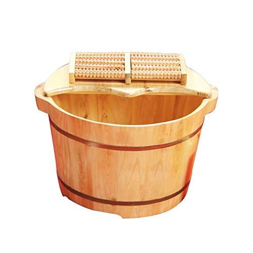 Limuchen Smooth Solid Wood Foot Tub,Cedar Foot Bath Barrel,Pedicure Bowl Spa Massage Cedar Pedicure Barrels Household Foot Bath Barrel,with Lid with Massager Best Gift