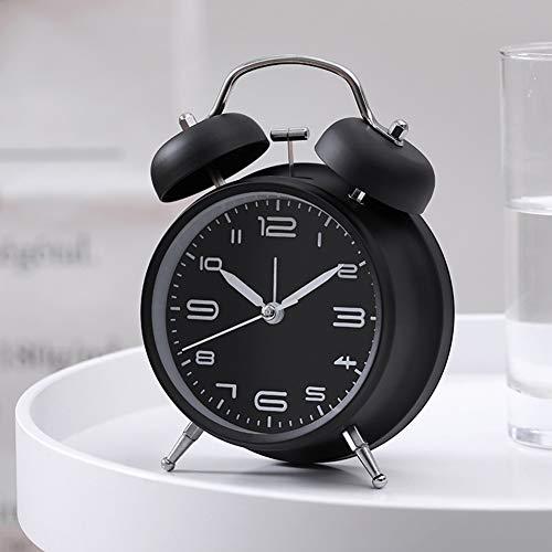 Metermall Nieuw 4 inch metalen dubbele bel wekker met nachtlampje voor nachtkastje