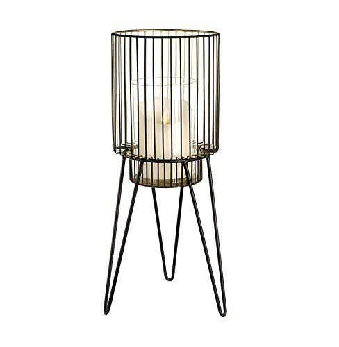 Casablanca Windlicht mit Glaseinsatz für Kerzen LED Glühbirnen Metall Glas schwarz Retro Vintage groß 53x19cm