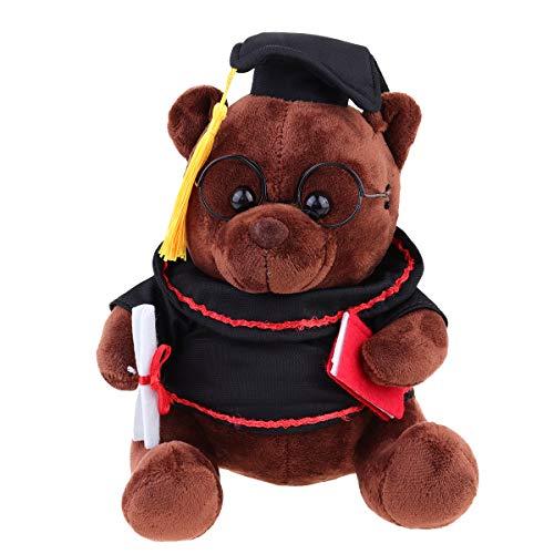 Abaodam 23 cm de color marrón oscuro adorable peluche oso de peluche con forma de sombrero de graduación muñeca suave de graduación juguete decorativo foto accesorios regalo de graduación