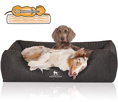 Knuffelwuff Orthopädisches Hundebett Tampa aus laser-gestepptem Kunstleder XXL 120 x 85cm Schwarz