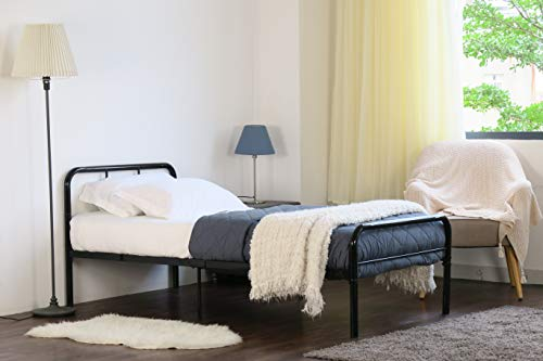 Home Treats Black Metal Curved Bed Frame 3ft Single. Bedroom Furniture Ideal For Kids, Teenagers And Adults (Single)