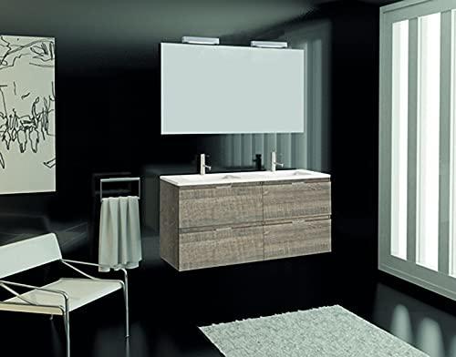 Inmocore Neptuno Mueble de Baño Suspendido 4 Cajones con Lavabo Cerámico 2 Senos, Wood, Amazona, 120 cm