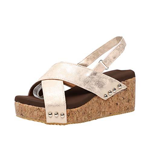 Baijiaye Sandalias Mujer Plataforma Cuña Tacones Altos Sandalias Correa de Tobillo Elegant Comfort Sandalias de Verano Peep Toe Sandalias