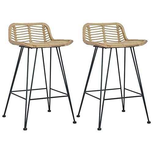 BIGTO Bar Chairs 2 pcs Natural Rattan