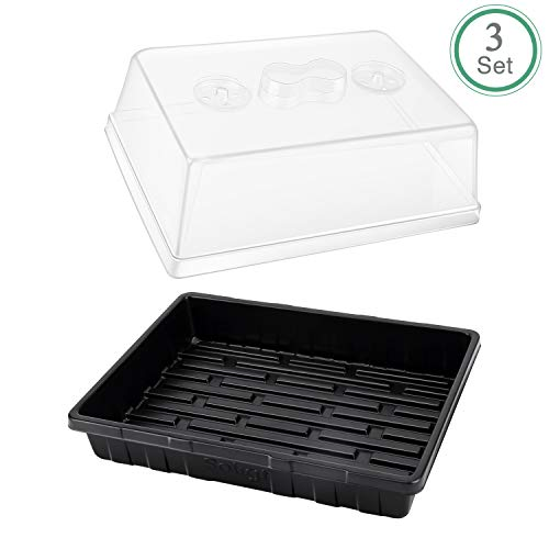 Soligt 3-Set Strong Plant Growing Trays with Humidity Domes for Seed Starting, Germination and Seedling Propagation, Holds 144 Cells in Total (Cell Tray Not Included)