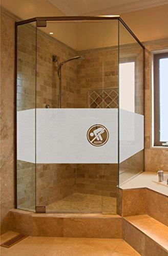 rs-interhandel® GD35 Bad Dusche Sichtschutz Aufkleber Höhe ca. 50 cm, Glasdekorfolie Duschwand Glasdekor Fensterfolie Badezimmer