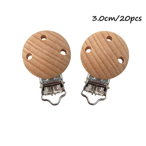 Alenybeby 20pcs/lot Metal Wooden Baby Pacifier Clips Solid Color Holders Cute Infant Soother Clasps Holders Baby Teether Accessories (3cm with Hole)
