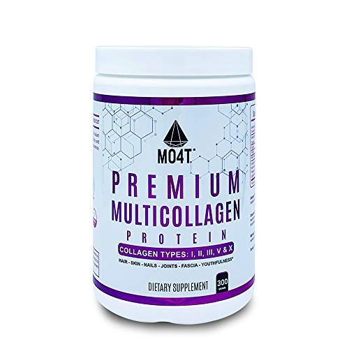MO4T Hydrolyzed Multi Collagen Powder -Collagen Protein- Pure Grass-Fed Hydrolyzed Collagen Peptides-Type 1,2,3,5,10 -Non-GMO, Sugar-Free, Keto-Friendly -10.58 Oz