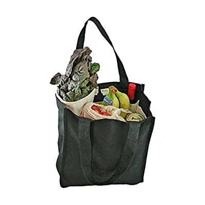 Simple Ecology Organic Cotton Deluxe Reusable Grocery Shopping Bag with Bottle Sleeves (heavy duty, washable, durable handles, foldable, craft & gift bag, 6 bottle wine bag carrier)