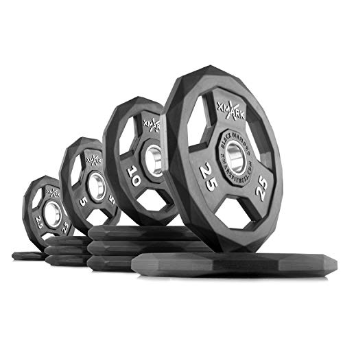 XMark Black Diamond 115 lb Set Olympic Weight Plates, One-Year Warranty, Patented Design