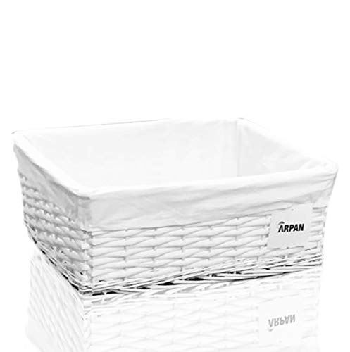 Arpan Large White Wicker Gift Hamper Storage Basket with White Cloth Lining