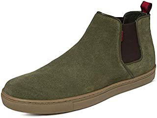 TONI ROSSI Men's Olive Green Brice Leather Casual Boots (650171)