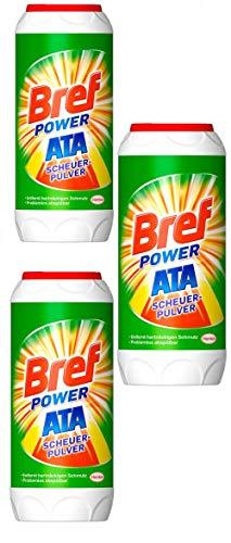 Bref Power ATA Scheuerpulver, 3 x 500g, gegen hartnäckige Verschmutzungen und Kalkablagerungen