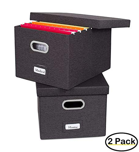 Internet's Best Collapsible File Storage Organizer with Lid - Decorative Linen Filing & Storage Office Box – Hanging Letter/Legal Folder – Home Office Bins Cabinet – Charcoal Container - 2 Pack